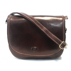 Borsa a tracolla c/patta  in cuoio Marrone 01 , Made in Italy