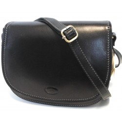 Borsa a tracolla c/patta  in cuoio Nero 01 , Made in Italy