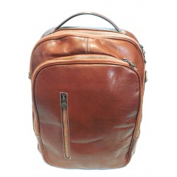 Zaino in cuoio marrone 05, 2 comparti,Made in Italy, 42x32x16 cm