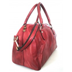 Borsone in cuoio Rosso  art. 09 tg.S Made in Italy 37x27x20 cm