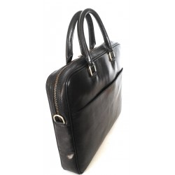Cartelle in cuoio multitasche  art 10 Nero Made in Italy 36x27x5 cm