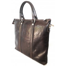 Borsa Cartella in cuoio piatta art 11 Marrone scuro Made in Italy 36x30x2 cm