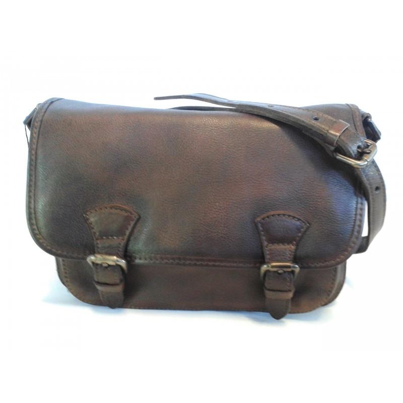 Borsa Vintage a tracolla con pelle anticata art.16 Marrone Made in Italy 26 x20x15 cm