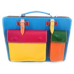 Cartella in pelle multicolore art 23 Made in Italy 38x30x13 cm