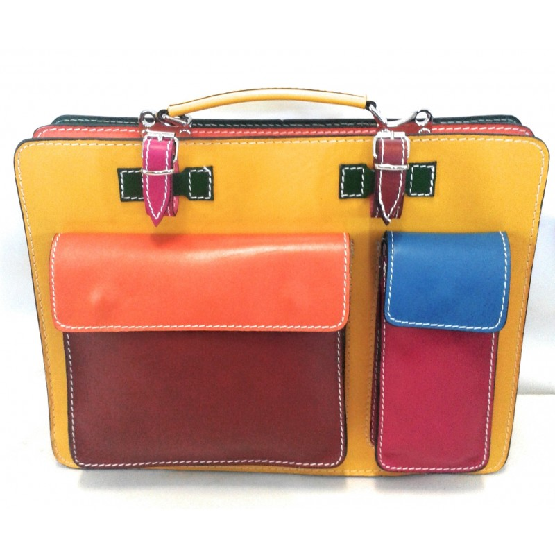 Cartella in pelle multicolore art 26 Made in Italy 38x30x13 cm