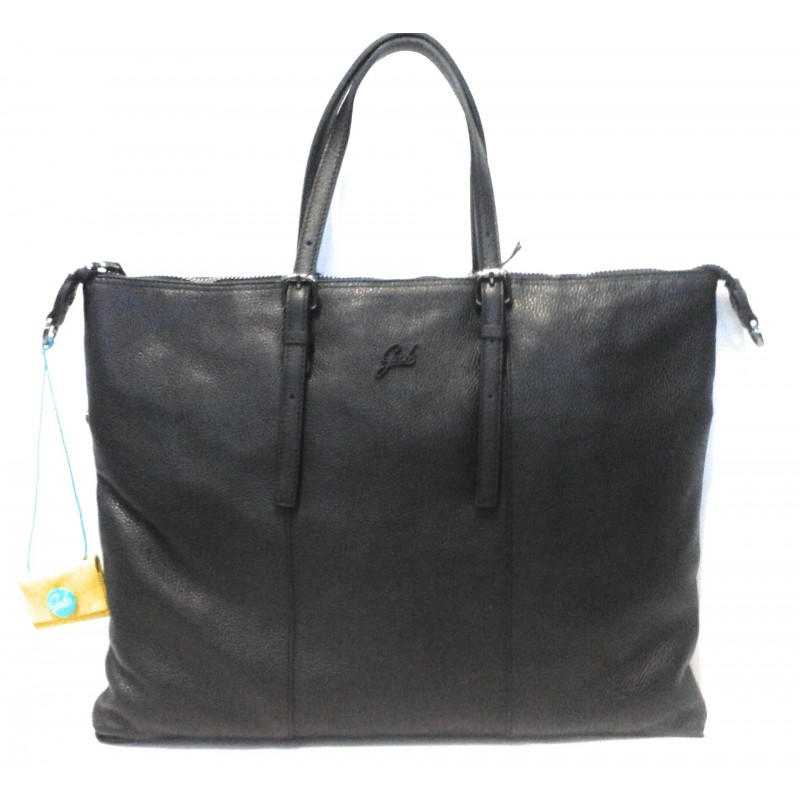 Gab's Sacca Trasformabile in pelle  GOLDIE tg.L  Nero Made in Italy 44x34 cm