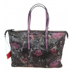 Gab's Sacca Trasformabile in pelle  GOLDIE tg.L  Fiori Fuxia Made in Italy 44x34 cm