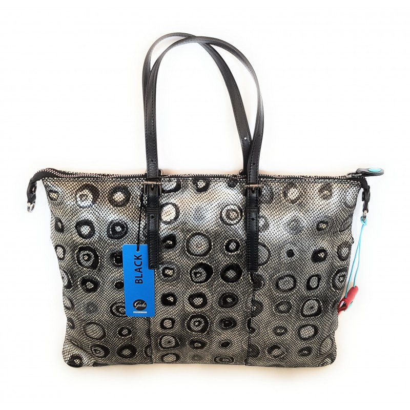 Gab's Sacca Trasformabile in pelle  GOLDIE tg.L  Bolle B/N  Made in Italy 44x34 cm