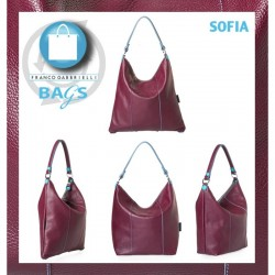 Sacca Trasformabile in pelle SOFIA Blu  Made in Italy 38x39 cm